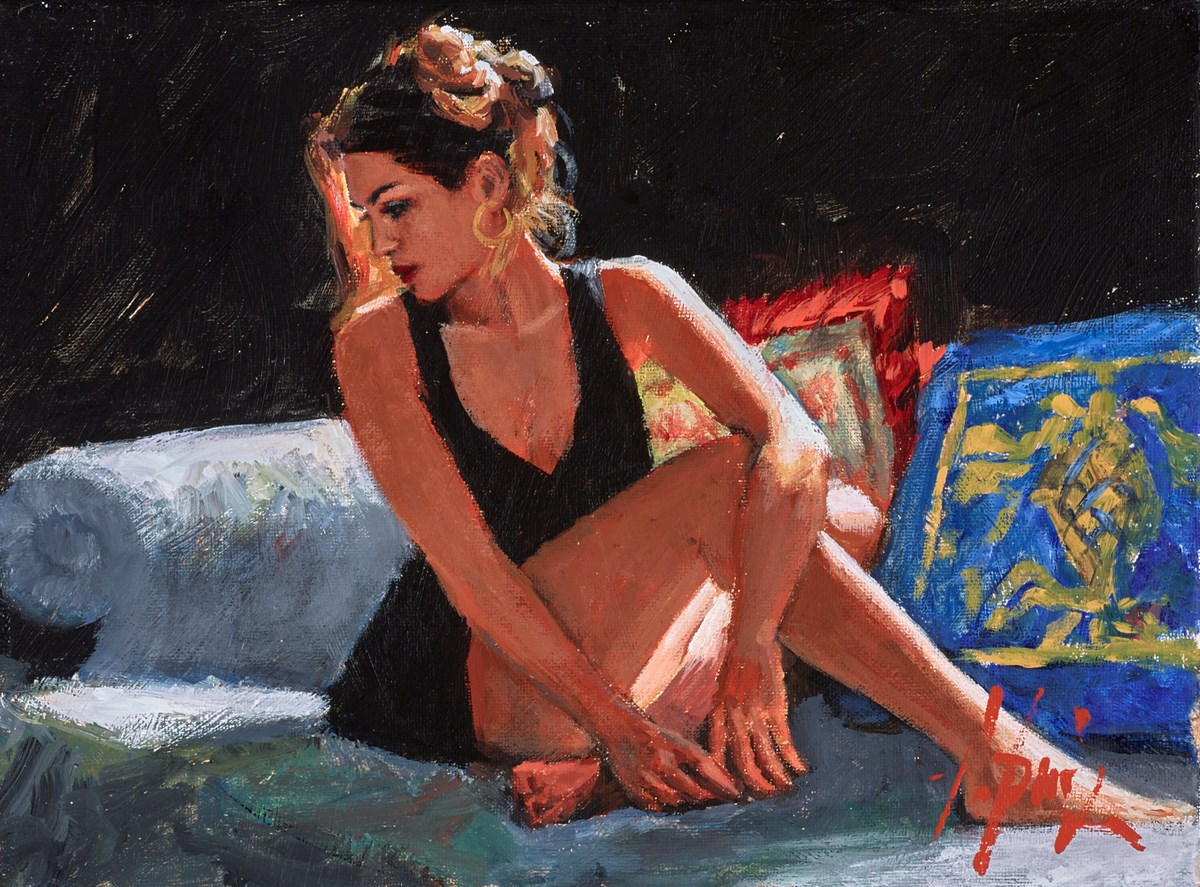 Rojo y Azul (Couch) by fabian perez -  sized 12x9 inches. Available from Whitewall Galleries